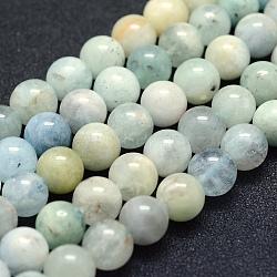 Chapelets de perles en aigue-marine naturelle, Grade ab-, rond, 8mm, trou: 1mm; environ 49 pcs/chapelet, 15.5'' (39.5 cm)(G-P342-11-8mm-AB-)
