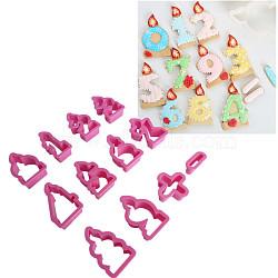 ensembles de coupe-biscuits en plastique de qualité alimentaire, moules à biscuits, outil de cuisson biscuit, nombre, rose foncé, 19~70x35~53x20 mm; 12 PCs / ensemble(DIY-L019-060)