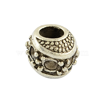 Tibetan Style Alloy Barrel Large Hole European Bead Rhinestone Settings, Lead Free , Antique Silver, 9x11x10.5mm, Hole: 5mm; fit for 2mm rhinestone, about 310pcs/1000g(TIBEB-7632-AS-RS)