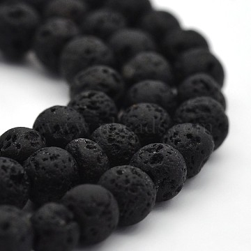 Natural Lava Rock Round Bead Strands, Lava Rock, 4mm, Hole: 1mm; about 94pcs/strand, 15.7 inches(X-G-M169-4mm-03)