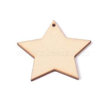 Unfinished Natural Poplar Wood Pendants, Undyed, Star, BurlyWood, 49x49.5x2.5mm, Hole: 2.5mm(X-WOOD-E010-05)