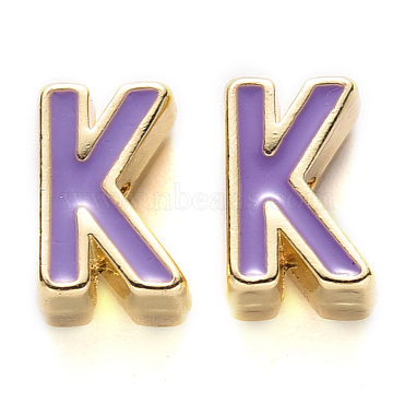 Rack Plating Alloy Enamel Beads, Cadmium Free & Nickel Free & Lead Free, Light Gold, Medium Purple, Letter.K, K: 10x6.5x5mm, Hole: 1.6mm(X-ENAM-S122-033K-NR)
