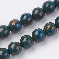 """Chapelets de perles en pierre gemme naturelle, teint, rond, prussianblue, 6mm, trou: 0.8mm; environ 60 pcs/chapelet, 15"""" (38 cm)(G-F560-6mm-A01)"""