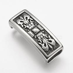 Breloques coulissantes en 304 acier inoxydable, rectangle, argent antique, 40x16x11mm, Trou: 6x12mm(STAS-E133-115AS)