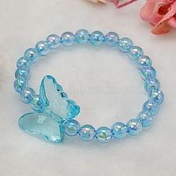 Bracelets pour enfants en acrylique transparent pour le cadeau de fête des enfants, Bleu ciel, 45mm(BJEW-JB00613-07)