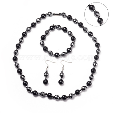 Necklaces & Stretch Bracelets & Dangle Earrings Jewelry Sets, with Stainless Steel Findings, Magnetic Synthetic Hematite and Natural Black Agate Beads, Platinum, 20.4inches(52cm); 53mm, Pin: 0.6mm; 2inches(5cm)(SJEW-I198-06P)