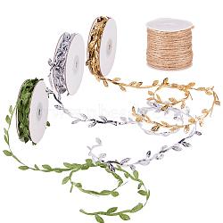 feuille artificielle feuilles soie de vigne pour la décoration de mariage à domicile, accessoires de couronne de bricolage à la main et ficelle de corde de chanvre, pour la fabrication de bijoux, couleur mélangée, feuille: 4 mm, environ 10 verges / rouleau; cordon: 2 mm, abo(OCOR-PH0003-38)