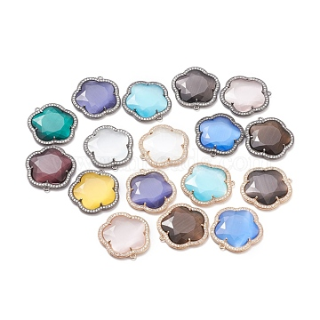Faceted Cat Eye Pendants, with Brass Open Back Settings and Micro Pave Clear Cubic Zirconia, Flower, Mixed Color, 26x24x4mm, Hole: 1.4mm(CE-L023-005)