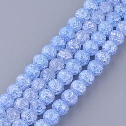 Chapelets de perles en quartz craquelé synthétique, rond, teint, cornflowerblue, 8mm, trou: 1mm; environ 50 pcs/chapelet, 15.7''(X-GLAA-S134-8mm-12)