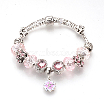 European Bracelets, with Tibetan Style Alloy Rhinestone Enamel Beads, Resin Beads, Brass Chains and Safety Chains, Antique Silver, Flower, Light Rose, 7-7/8inches(200mm)(BJEW-S124-12A)