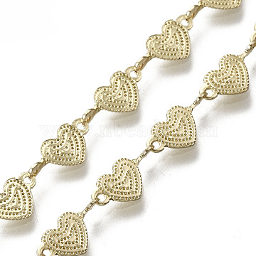 Brass Heart Link Chains, Long-Lasting Plated, Textured, Unwelded, Light Gold, 5x11x2.5mm(CHC-N018-049)
