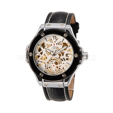 Men's Stainless Steel Leather Mechanical Wrist Watches, White, 260x22mm; Watch Head: 55x54x15mm; Watch Face: 34mm(WACH-N032-06A)