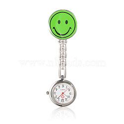 Alliage smiley infirmière montres tableau de poche, avec un alliage table de l'émail, chaînes métalliques et clips de fer, plat rond, lawngreen, 91 mm; cadran montre: 29x8 mm; boitier montre: 20 mm; visage de sourire: 32x29x17 mm(WACH-N007-03D)