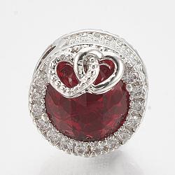 Perles européennes en laiton avec zircone cubique, Perles avec un grand trou   , plat et circulaire avec coeur, platine, rouge, 12x14mm, Trou: 4.5mm(ZIRC-T006-35P-05)