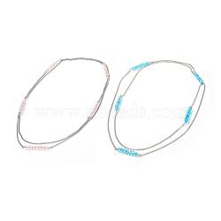 (vente de clôture défectueuse), colliers de verre, avec des chaînes de fer, couleur mélangée, 46.4 (118 cm)(NJEW-XCP0001-02)