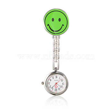 Alloy Smile Nurse Table Pocket Watches, with Alloy Enamel Table, Metal Chains and Iron Clips, Flat Round, Lawn Green, 91mm; Watch Head: 29x8mm; Watch Face: 20mm; Smile Face:32x29x17mm(WACH-N007-03D)