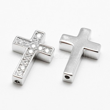 Brass C.Z Cross Beads, Grade AAA Cubic Zirconia Beads, Cadmium Free & Nickel Free & Lead Free, Real Platinum Plated, 18.2x12.2x3mm, Hole: 1.5mm(KK-P130-038P-NR)