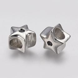 Supports de strass de perles européennes en 304 acier inoxydable, Perles avec un grand trou   , étoiles, argent antique, adapté pour 2mm rhinetone; 11.5x11.5x9mm, Trou: 5mm(STAS-J022-074AS)