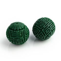 Perles à la main de cinabre, sculpté en laque, rond, darkgreen, 16x15mm, Trou: 2mm(CARL-R002-15mm-04)