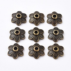 Tibetan Style Bead Caps, Cadmium Free & Nickel Free & Lead Free, Antique Bronze Color, Flower, Size: about 10.5mm diameter, 3.5mm thick, hole: 2mm(X-TIBEB-EA494YKG-AB-FF)
