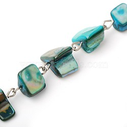 Handmade Sea Shell Beads Chains for Necklaces Bracelets Making, with Iron Eye Pin, Unwelded, Platinum, Medium Turquoise, 39.9 inches(X-AJEW-JB00066-05)