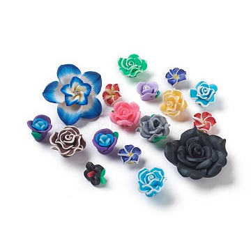 Handmade Flower Polymer Clay Cabochons, Mixed Style, Mixed Color, 19~42x11~16mm(CLAY-MSMC003-01)