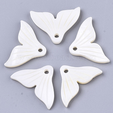 Natural Freshwater Shell Pendants, Carved, Fishtail, Seashell Color, 17.5~20x27x2.5~3.5mm, Hole: 2mm(X-SHEL-S276-75)