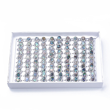 Abalone Shell/Paua ShellRings, with Alloy Findings, Mixed Size, Oval, Teal, Size 6~10(16~20mm); 100pcs/box(G-S279-43-B)
