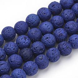 """Chapelets de perles de lave naturelle, teint, rond, bleu, 8~8.5mm, trou: 1mm; environ 50 pcs/chapelet, 15.9"""" (40.3 cm)(X-G-S277-8mm-04)"""