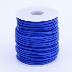 Tuyau creux corde en caoutchouc synthétique tubulaire pvc, enroulé aurond de plastique blanc bobine, bleu, 2mm, trou: 1 mm; environ 50 m / rouleau(RCOR-R007-2mm-13)