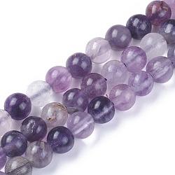 """Chapelets de perles en fluorite naturel, rond, 6mm, trou: 0.8mm; environ 65~66 pcs/chapelet, 14.9~15.1"""" (38~38.5 cm)(G-F642-06-A)"""