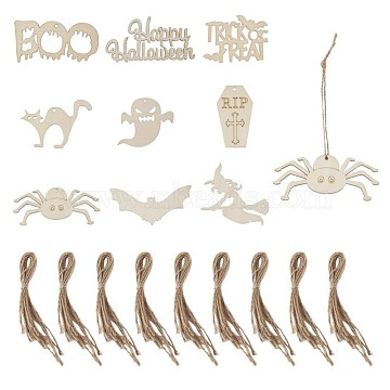Wooden Ornaments, with Hemp Cord, Halloween Hanging Decorations, for Party Gift Home Decoration, Mixed Shapes, BurlyWood, 45pcs/bag(WOOD-TA0001-36)