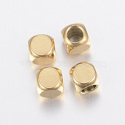 Vacuum Plating 304 Stainless Steel Beads, Cube, Golden, 3x3x3mm, Hole: 2mm(X-STAS-F135-07G-3x3mm)