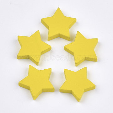 21mm Yellow Star Wood Cabochons