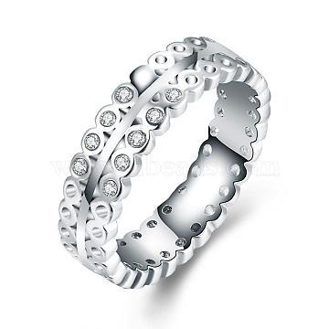 Exquisite Brass Czech Rhinestone Finger Rings for Women, Platinum, Size 7, 17.3mm(RJEW-BB02112-7)