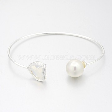 Nickel Free Silver Color Plated Brass Glass Cuff Bangles, Torque Bangles, with Round Acrylic Pearl, WhiteSmoke, 50x64mm(BJEW-J163-01S)