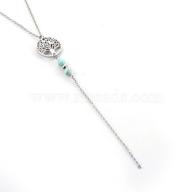 Natural Turquoise Pendant Necklaces(NJEW-JN02268-04)-2