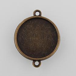 Плоские круглые параметров соединителя кабошон двусторонняя сплава, без никеля , античная бронза, 29.00x23.00x3.00 мм, отверстие : 1.50 мм(X-PALLOY-N0087-05AB-NF)