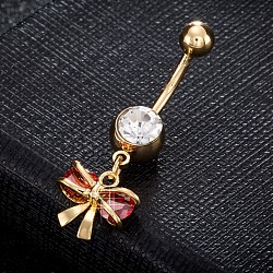 Brass Cubic Zirconia Navel Ring, Belly Rings, with Use Stainless Steel Findings, Cadmium Free & Lead Free, Real 18K Gold Plated, Bowknot, Red, 36x12mm, Pin: 1.5mm(AJEW-EE0004-27C)