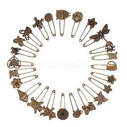 broches en alliage de style tibétain nbeads®, formes mixtes, bronze antique, 31x20 mm; à propos de 24 pcs / set(JEWB-NB0001-01AB)
