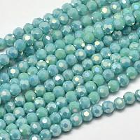 plaqué facettes arc-en-pleine ronde verre electroplate brins de perles, turquoise, 4 mm, trou: 1 mm, environ 100 pcs / brin, 14.9 pouces
