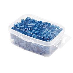 1 boîte 5mm perles hama PE de bricolage recharges pour enfants, Tube, darkblue, 5x5mm, trou: 3 mm; environ 500 / boîte(DIY-X0047-A32-B)