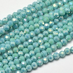 Faceted Round Full Rainbow Plated Electroplate Glass Beads Strands, Turquoise, 4mm, Hole: 1mm; about 100pcs/strand, 14.9inches