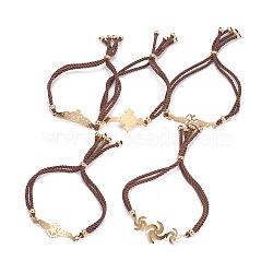 """Bracelets réglables de bolo de corde en nylon, Bracelets coulissants, chaînes de boîte, avec 304 accessoires de strass en acier inoxydable, formes mixtes, or, coconutbrown, 8-7/8""""~9-1/2"""" (22.5~24cm); 4~5mm(BJEW-F374-B)"""