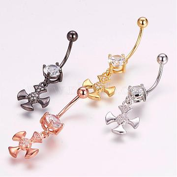 Piercing Jewelry, Brass Micro Pave Cubic Zirconia Belly Rings, with 304 Stainless Steel Pins, Cross, Mixed Color, 37mm, Pin: 1.5mm(ZIRC-J017-20)