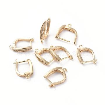 Accessoires de boucle d'oreilles en laiton, avec boucle et zircone cubique transparente, oeil de cheval, Plaqué longue durée, véritable plaqué or, 18x13.5x3.5mm, trou: 1.2 mm; broches: 0.8 mm(ZIRC-L077-035G)