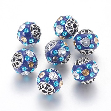 Handmade Indonesia Beads, with Rhinestone and Alloy Findings, Round, Antique Silver, Blue, 14~15x15mm, Hole: 2.5mm(IPDL-K004-R)
