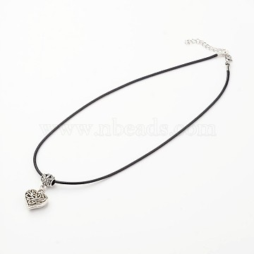 Heart Tibetan Style Alloy Pendant Necklaces, with Waxed Cord and Lobster Claw Clasps, Antique Silver, 17.7inches(NJEW-F197-12)
