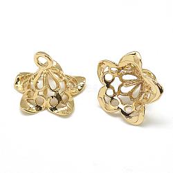 pendentifs en laiton, pour la moitié de perles percées, fleur, réel 18 k plaqué or, 11x14x13 mm, trou: 1.5 mm; broches: 1 mm(KK-T032-156G)
