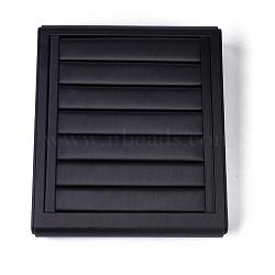 Présentoirs à anneaux en bois, recouvert de cuir PU, noir, 22x25x5 cm(RDIS-O004-01)